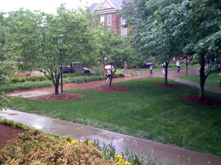 Rainfall covers Elon's campus